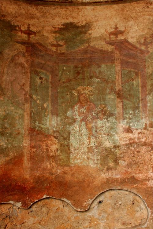 Włochy, Pompeje, Dom Menandra, Wenus i cherubin, malowidło na tynku w świątyni domowej.