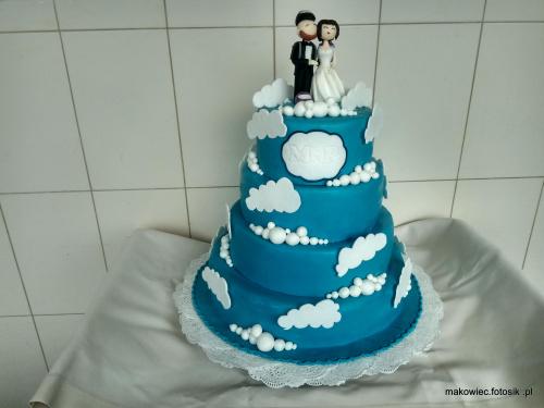 Torcik weselny dla spadpchroniarzy #tort #weselny #torty #okloicznosciowe #torty #tort #dla #spadochronirazy #ślub #tort z #chmurkami