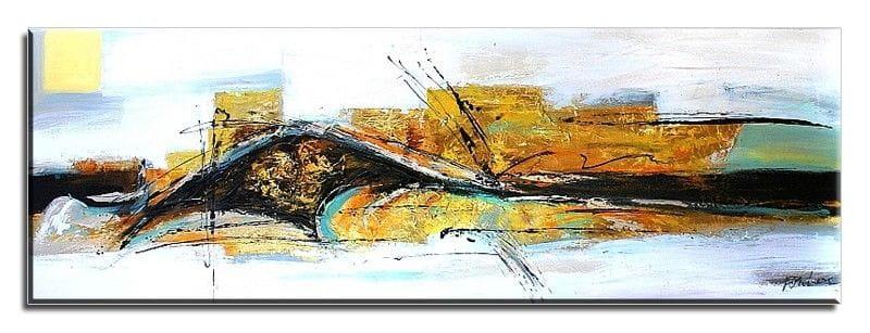 Abstraktion G01382 Ölgemälde handgemalt Leinwand Signiert 150x50cm