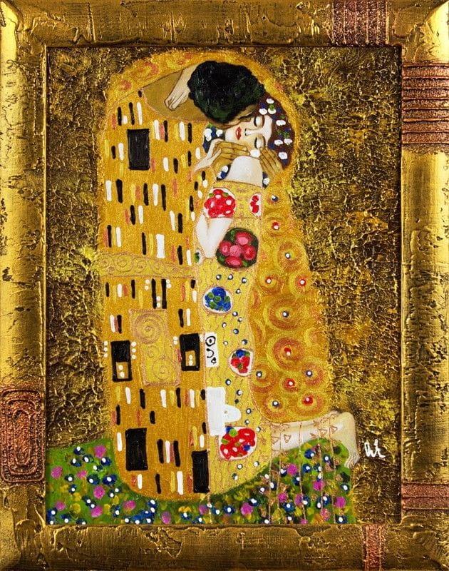 Gustav Klimt-Der Kuss-47x37cm-Ölgemälde Handgemalt Leinwand Rahmen Signiert