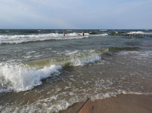 Dziś nad morzem porządnie wiało, no i parę stopni jest tutaj mniej niż w Szczecinie...))