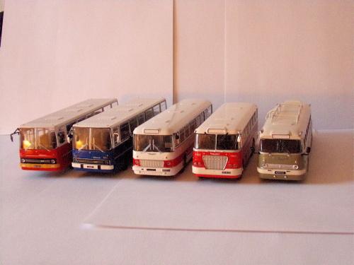 Od lewej 2xIkarusy 260, Ikarus 556, Ikarus 620 oraz Ikarus 66