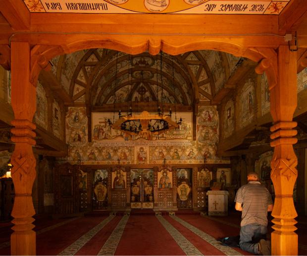 Kompleks klasztorny w Barsanie - drewniana cerkiew pod wezwaniem Dwunastu Apostołów