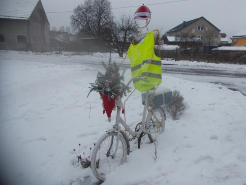 Łukta i zimowy rower Świętego Mikołaja :-)...